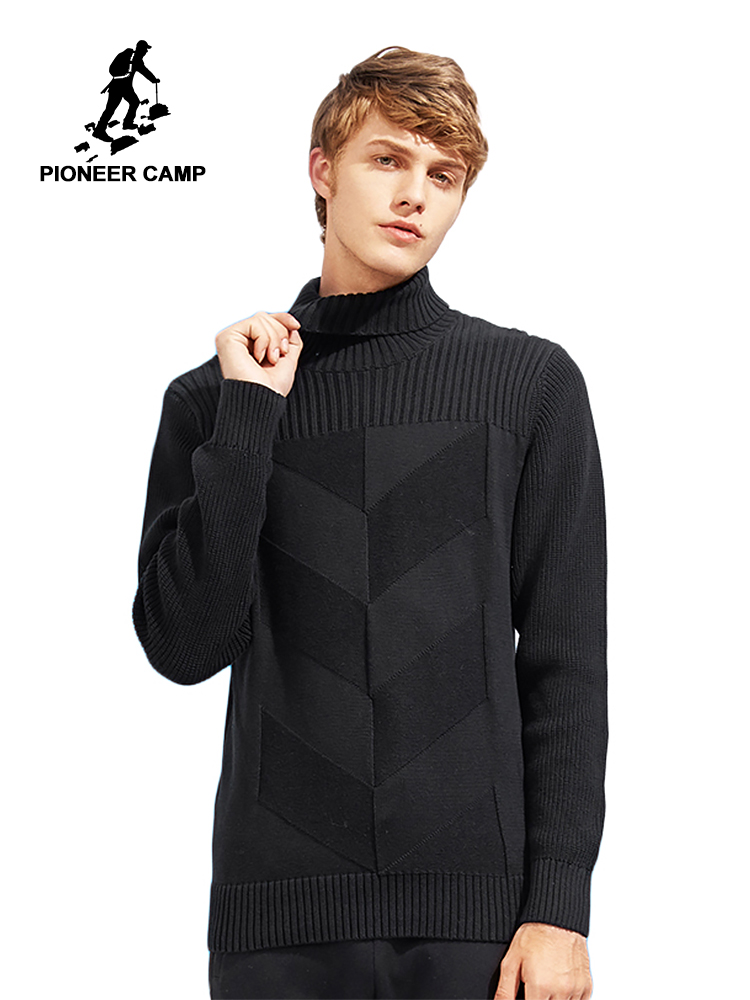 Pioneer Camp Russian Delivery Clear Turtleneck Sweater Men Brand Clothing Fashion Winter Pullover Knitwear Double Collar