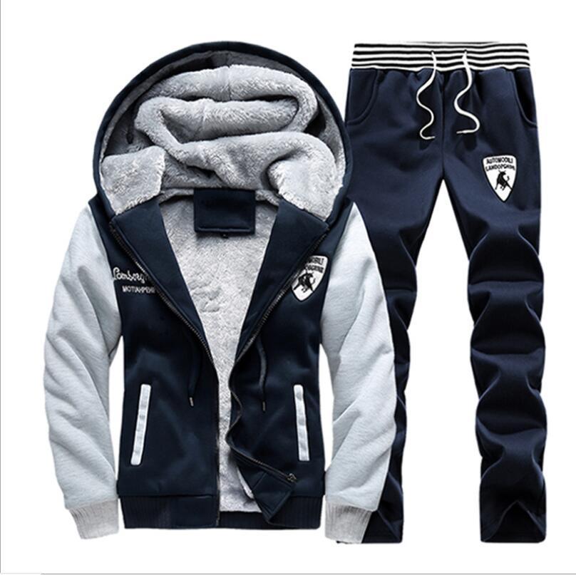 2019 nouveau PP35782 hommes ensemble mode hiver survêtements épais polaire doublé Hoodies sweat + pantalon survêtement hommes Sportswear - 4