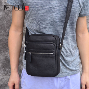 AETOO small flap men's leather bag casual Korean version of the retro leather men's bag men's shoulder Messenger bag aetoo new leather leather korean version of the wave of shoulder bags simple leisure travel bag backpack