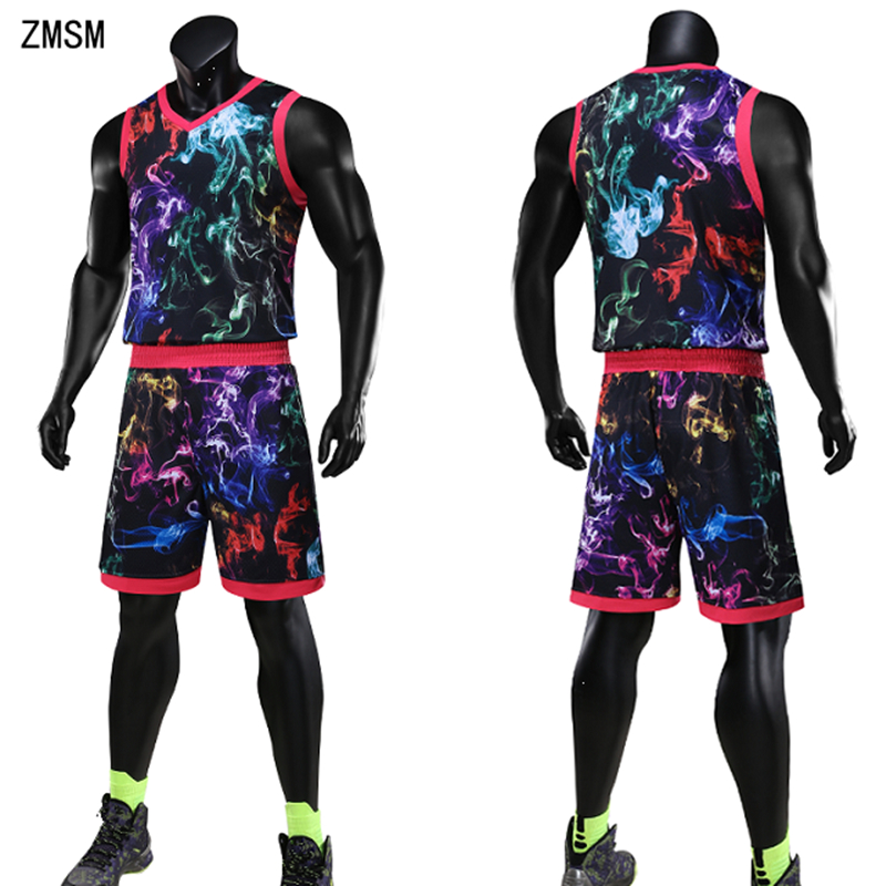 ZMSM New Men Basketball Jerseys Sets Plus Size Basketball Uniform Basketball Shirt Training Shorts Colorful Sportswear JL1707 illinois fighting illini replica basketball shorts