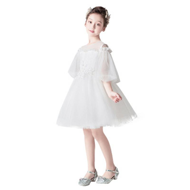 2019 New Kids Dresses For Girls Wedding Party Children Girls White Flower Tutu Princess Dress Toddler Girl Clothing Vestido L275
