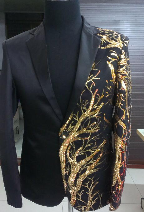 singer blazer Male formal dress costume men's clothing paillette suits clothes for dancer star performance nightclub party bar 1
