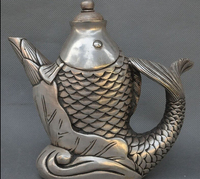 decoration brass factory outlets Tibet Silver 7Old Chinese Dynasty Silver Auspicious Fish barracuda Statue Wine TeaPot