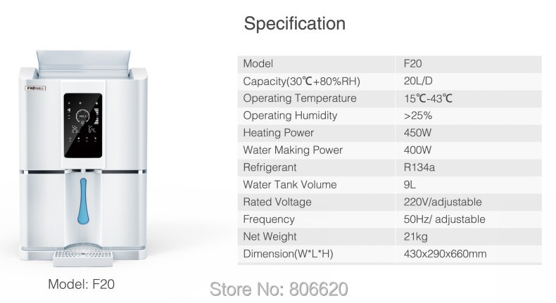 Home 20LD Pure Atmospheric Air to Water Treatment Dispenser Generator with Intelligent RO Filter & NFC Code-Scanning Match Tech_Size2