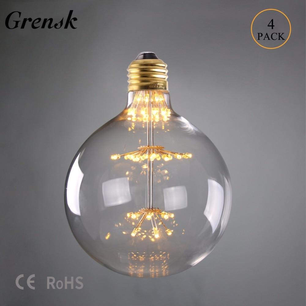 Grensk Led Fireworks Bulb G125 3W Globe Decorative Lamp E26 110V E27 220V Led 2200k Ampoules