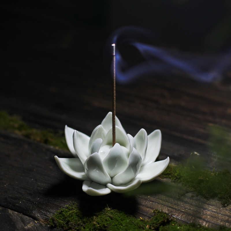 Цзиндэчжэнь ручной работы белоснежный Лотос ароматические благовония керамическая курильница плита благовония вставное устройство для Будды благовония