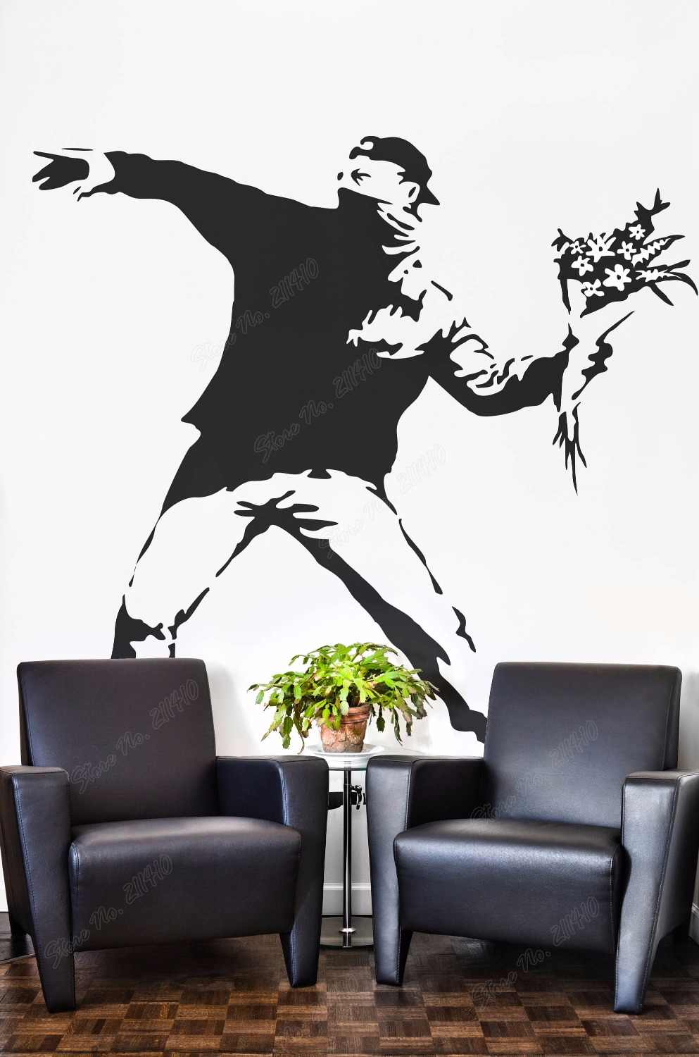 Banksy The Flower Protester Wall Decal Sticker Banksy Style Wall Decal Bedroom Decor Removable Vinyl Art Wall Sticker B139