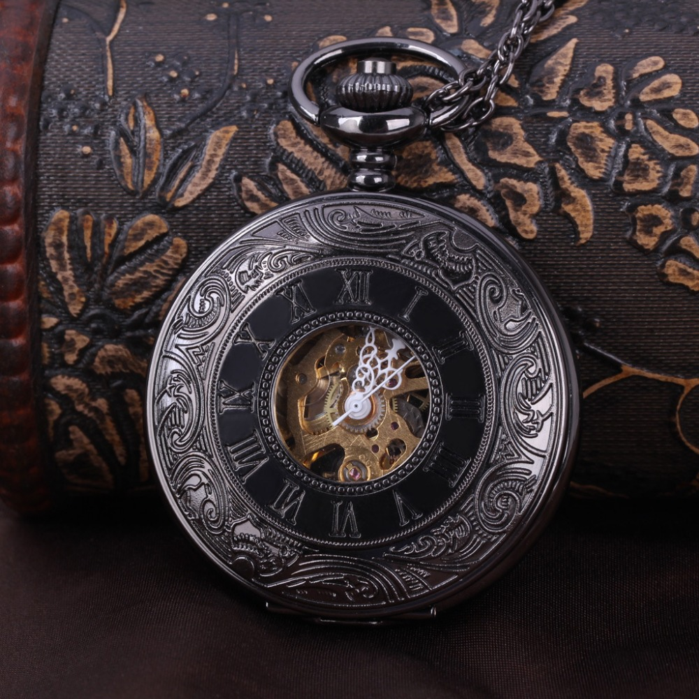 8919   Classic Black Steampunk Skeleton Mechanical Pocket Watch Men's Antique Luxury Pocket Watch Chain Men's Clock