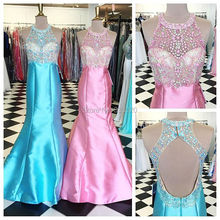 Perlen Satin Open Back Mermaid Prom Kleid Einbau Formale Abendkleid Sky Blue Kleid robe de soiree abendkleider
