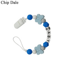 Chip Dale Personalised Name Silicone Baby Pacifier Clips Anti-drop Chain Butterfly Bead Nipple Holder Shower Gift