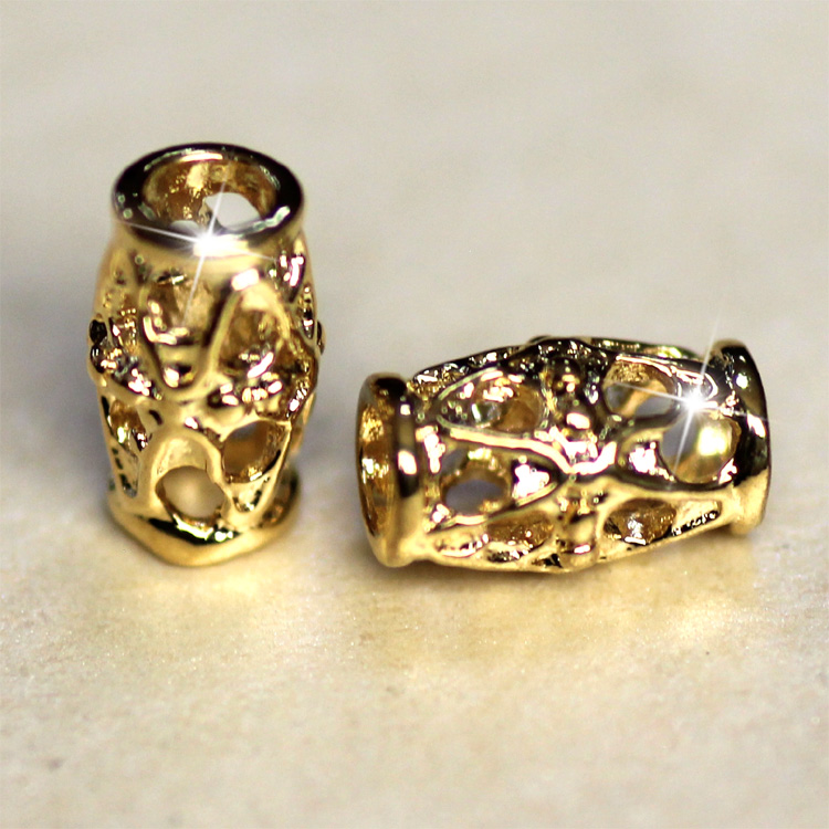 high quality jewelry components 9x6mm filigree tube gold easy jewelry making 0.9*0.6*0.6cm