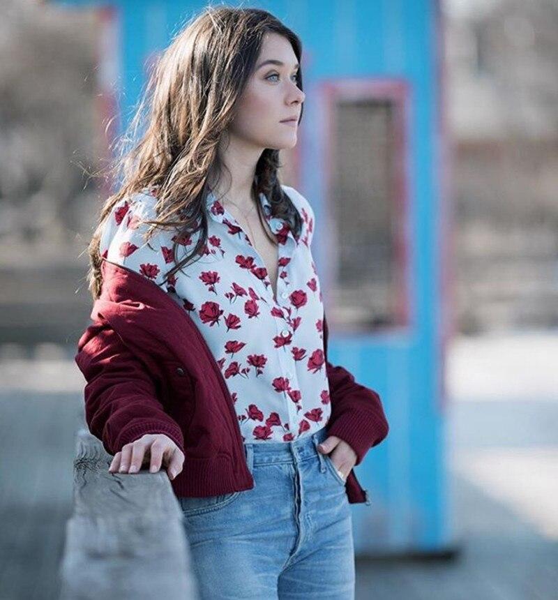 2019 New Flower Print Long Sleeve Fresh Silk   Blouse     Shirt
