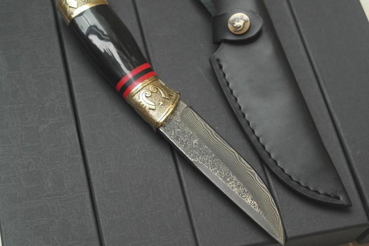 Купить 2016 дамаск, Высокая - класс чай нож бык рогом золотой цветок дамасская сталь нож бутик подарок коллекция прямой нож дешево