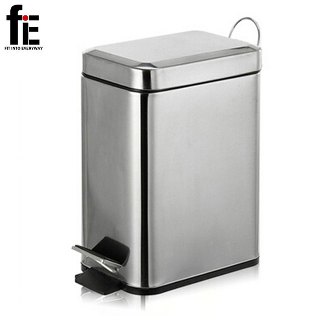 Charmant FiE 3/5L Mini Stainless Steel Garbage Press Dustbin Small Kitchen Trash Can  Eco