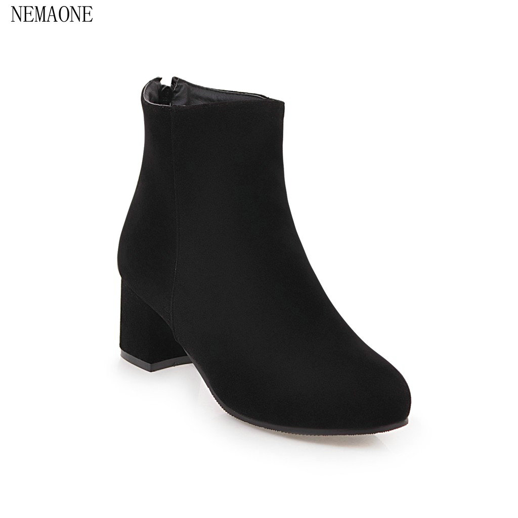 NEMAONE Women Ankle Boots pu Leather 2018 New autumn Square Heel back zip Woman round Toe Black Shoes new design brush effect soft leather back etoile round ring belt buckle ankle boots square toe side zip women boots shoes woman