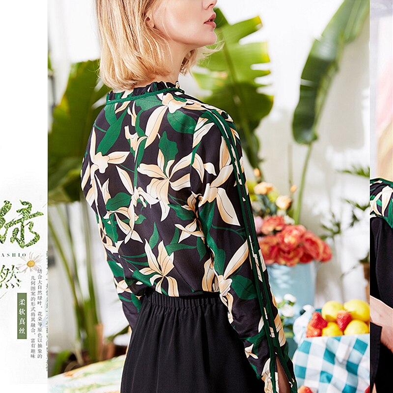 100% الحرير بلوزة المرأة قميص مطبوعة خمر تصميم التعادل الكشكشة يا الرقبة تسعة الربع الأكمام البلوز أعلى جديد أزياء 2019-في بلوزات وقمصان من ملابس نسائية على  مجموعة 3