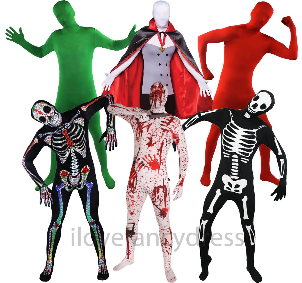 UNISEX ZENTAI BODY SKIN SUITS FULL BODY RED GREEN ZOMBIE SUGAR SKULL CATSUIT ALIEN SPANDEX COSPLAY CLOTHES HALLOWEEN COSTUMES