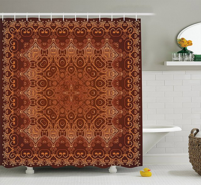 Antique Shower Curtain Set Vintage Lacy Persian Arabic Pattern From Ottoman Empire Palace Carpet Style Artprint