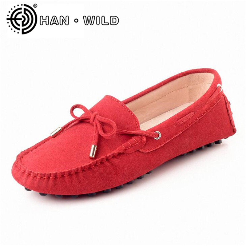 Top Quality 100% Genuine   Leather   Women Flats Cow   Suede   Loafers Comfortable Pregnant Women Lazy Shoes Female Driving Shoes