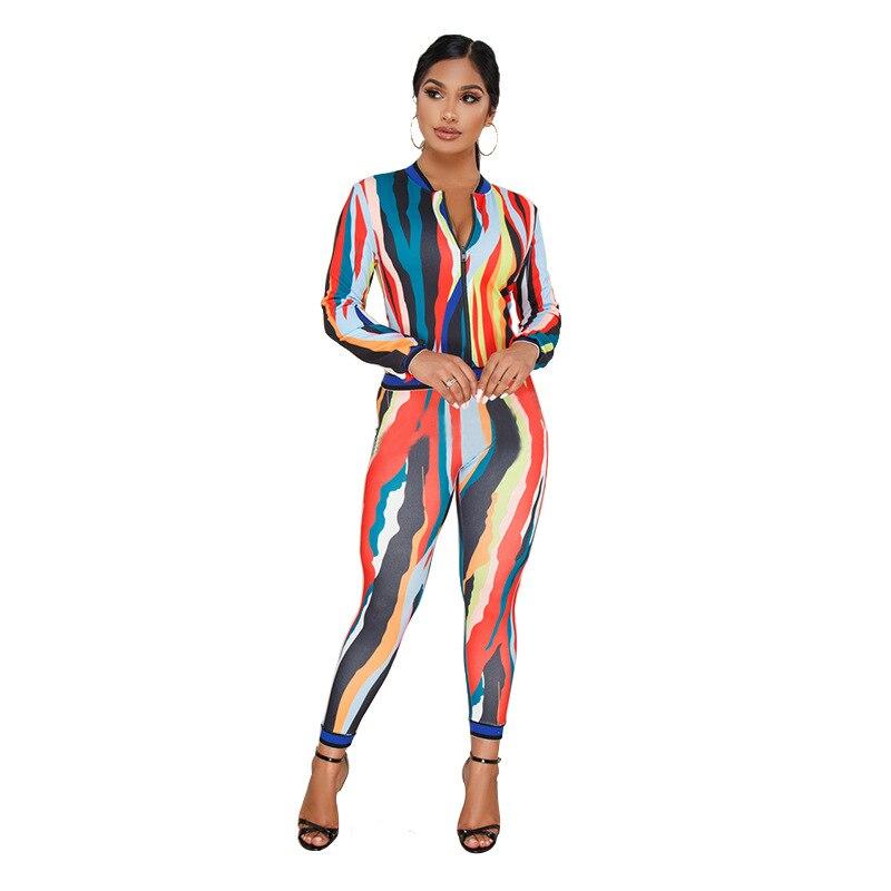 New Fashion Elegant Paint Print Bodysuit Pant Suits for Women Suits 2 Pieces Set Jumpsui ...