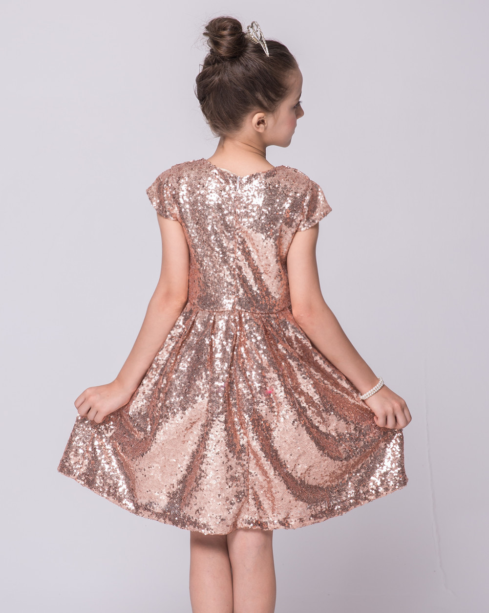 Kids Knee Length Blue Hot Pink Pink Bling Bling Party Dresses ...