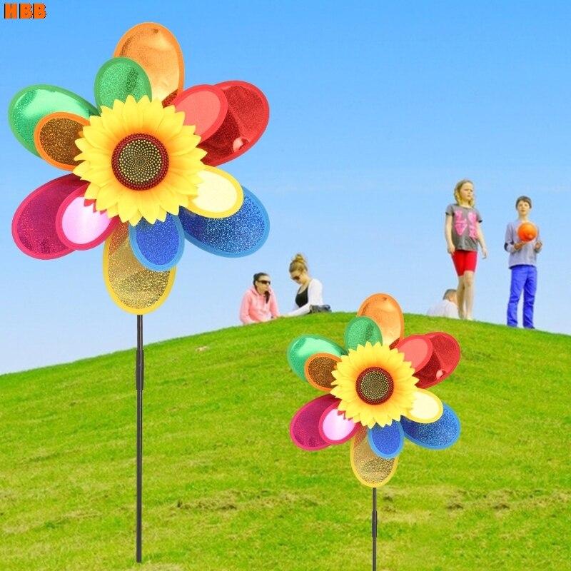 Sequins Double Layer Sunflower Windmill Wind Spinner Home Garden Yard Decoration