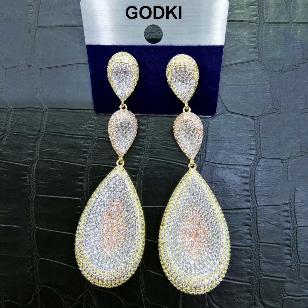 GODKI Luxury Waterdrop Cubic Zircon Nigerian Long Dangle Earrings For Women African Bridal Earring aretes de mujer modernos 2018 snake pattern cluster waterdrop pendant long earrings