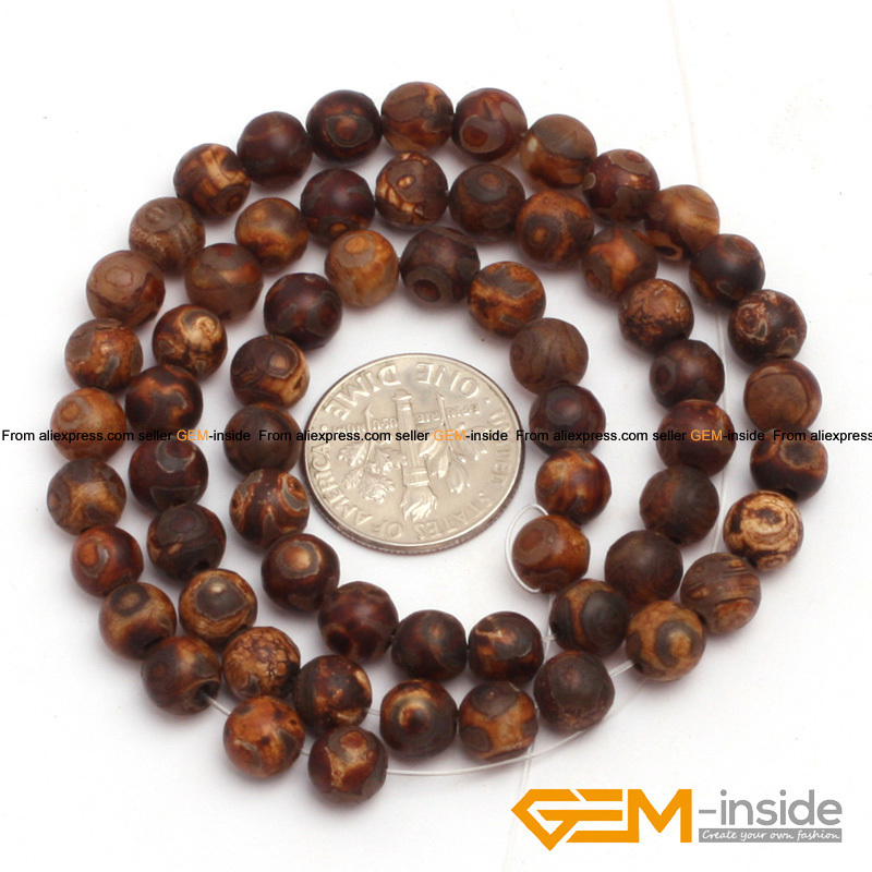 "6mm To 12mm Round Brown Vintage Dzi Beads Tibet agat Fashion Stone Beads Loose Beads For Bracelet Making Strand 15"" Wholesale!"