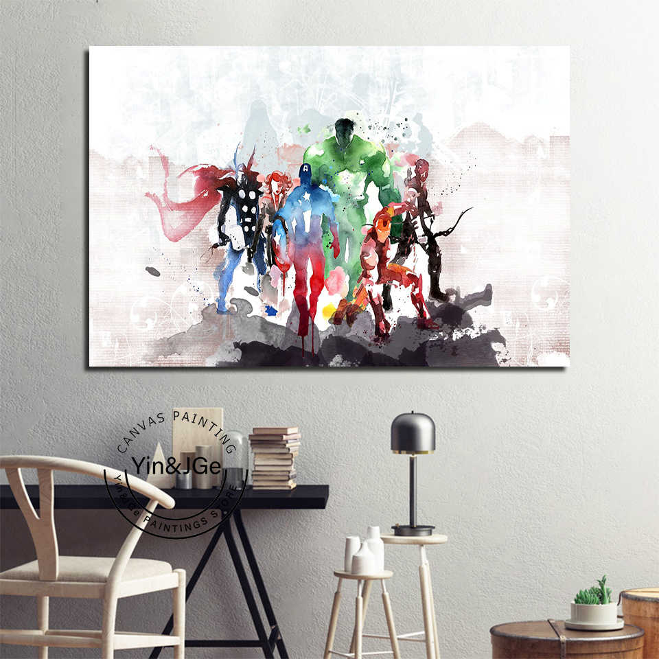 5 piezas Capitán América Iron Man vengadores películas póster arte impresiones acuarela lienzo pintura sala de estar decoración del hogar