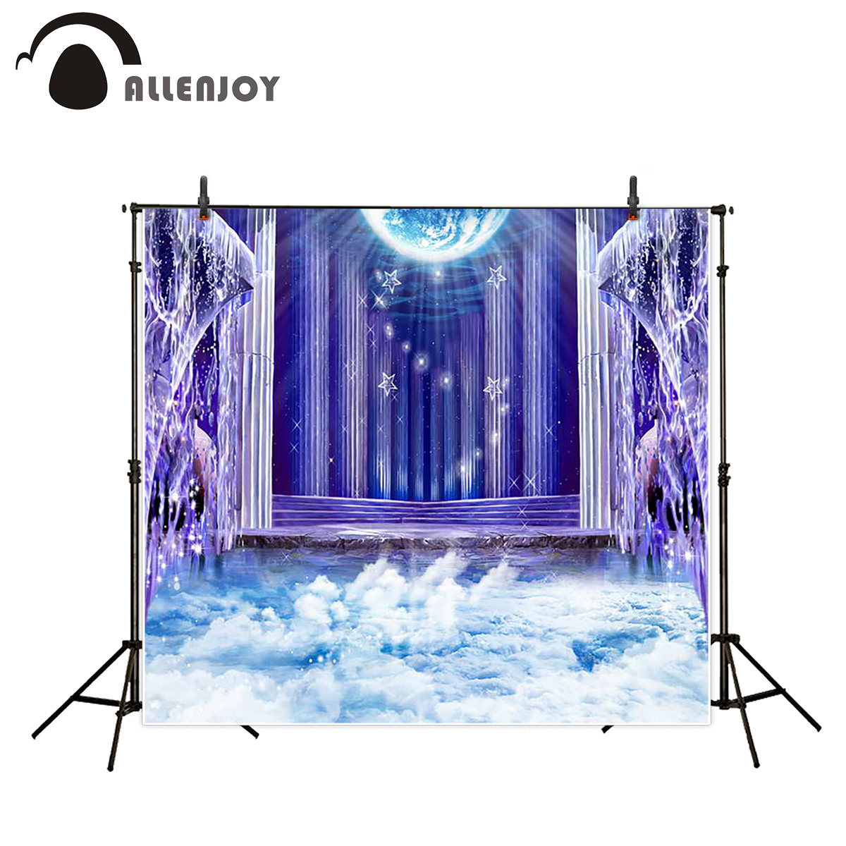 Allenjoy photography backdrop cloud glitter moon stars wonderland backgrounds professional computer printing photo studio
