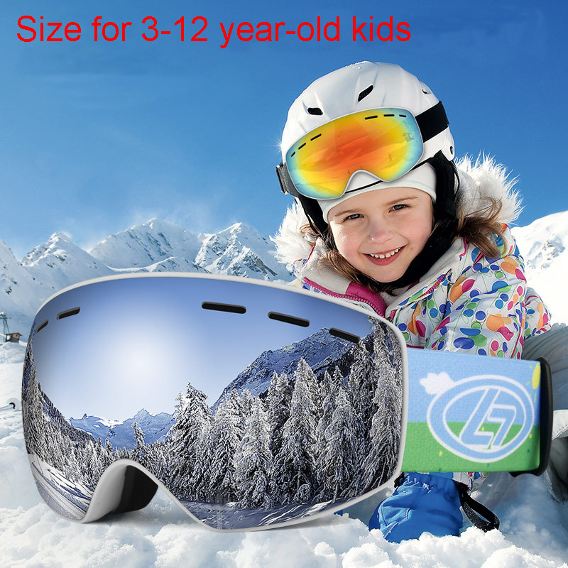 Winter Snowboard Ski Goggles For Kids Dual Lens Anti Fog Windproof Mask Colorful Plated Large Frame Skiing Glasses Children
