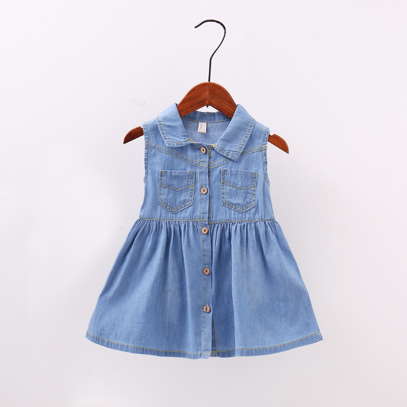 58455214f1402 2017 New Arrival 70-100cm Summer Dress Girl Denim Jeans Dress Casual Style  Toddler Children Clothing School & Party Wear in Blue