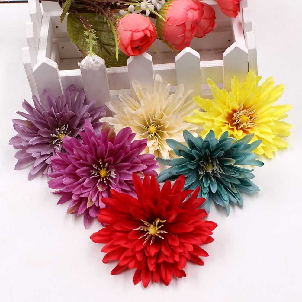 10pcs 7cm high quality rayon chrysanthemum wedding home vase decorations DIY wreath gift box clip clip flower real touch