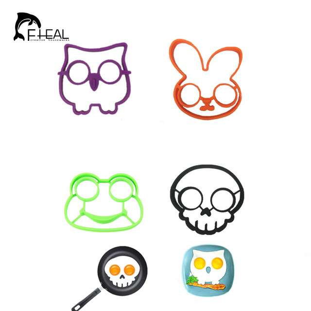 fheal 4pcsset owl rabbit skull frog sun shapes non stick silicone fried egg