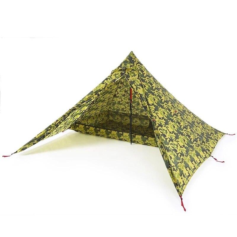 Ultra-léger 2 personnes tente Portable sac à dos tente Double face revêtement en Silicone résistant à l'eau en plein air Camping tente bâche soleil