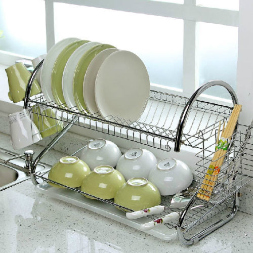 Goplus RU Dish Rack Set 2 Tier Chrome Plate Dish Cutlery Cup Rack with Tray steel