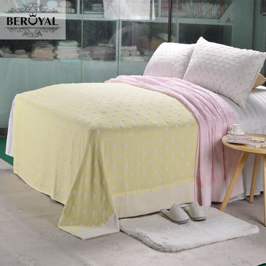 Beroyal 2017 New Arrival 100% Cotton Blankets Terry Vintage Throw Blanket Single Blanket on Bed Warm & Soft Sheets 140cmx190cm