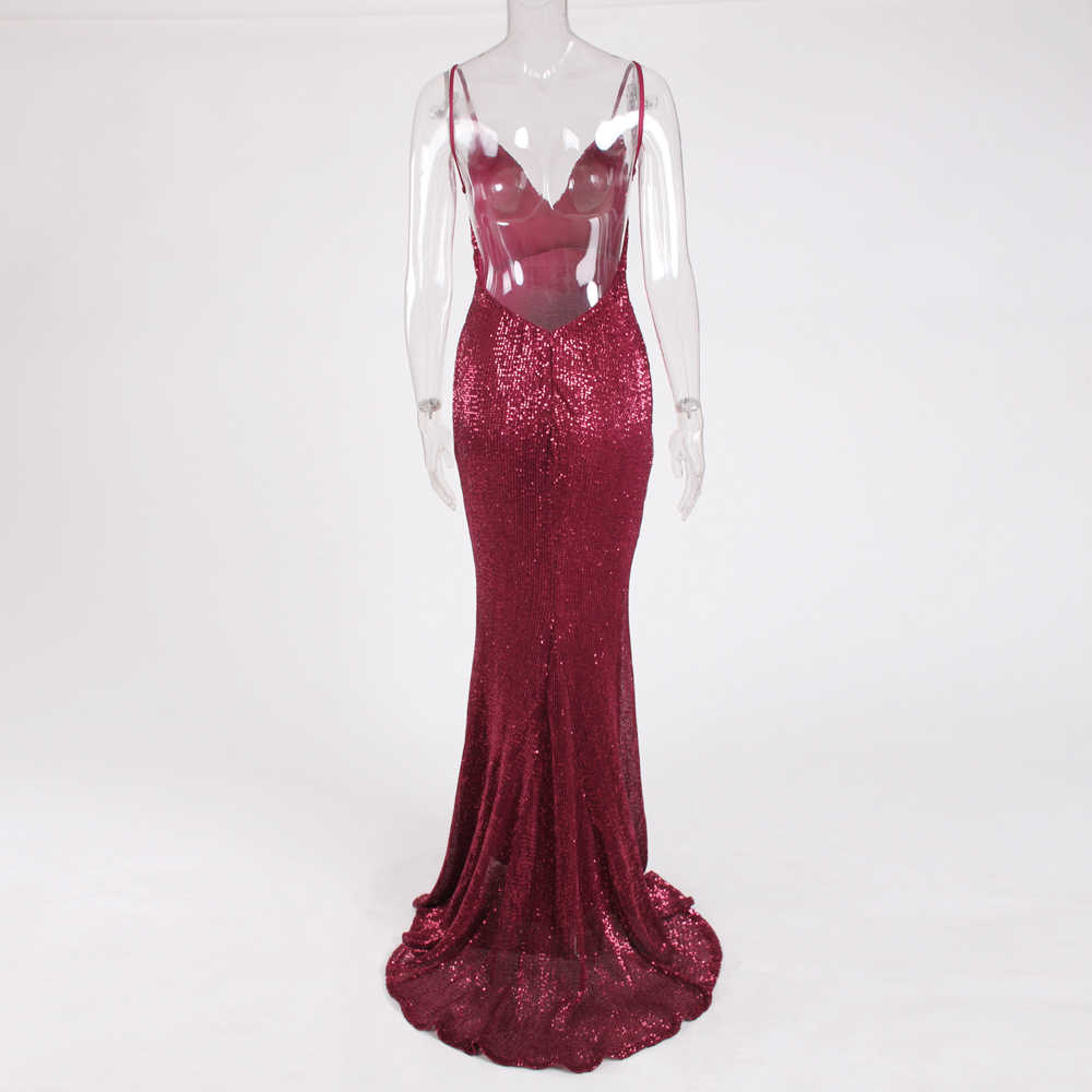 ac03fa9fec Sexy Backless Sequined Wine Red Maxi Dress Floor Length Dress Burgundy  Sleeveless Deep V Neck Mermaid Party Dress Gown
