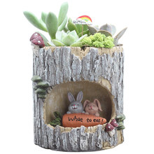 1pcs Creative Cute Pastoral Tree Hole Succulent Flowerpot Mini Bonsai Cactus Resin Flower Pot Desktop Home Decor Craft Gift Hot