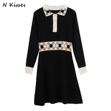 Luxury Brand 2018 Spring New Style Women Dress Full Sleeve Slim Clover Pattern Black Dress Comfort Knitted Party Vestidos