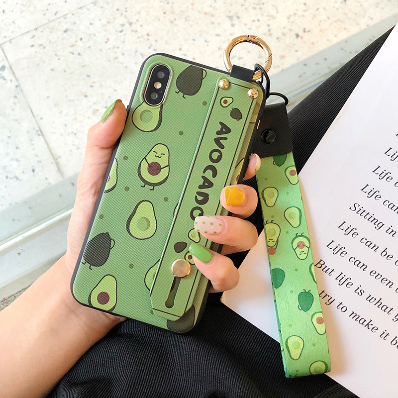 HTB10ey3clCw3KVjSZR0q6zcUpXah SoCouple Phone Holder Case For iphone XR X Xs max 11 Pro Max 7 8 6 6s plus Fruit Avocado Soft TPU Neck Wrist Strap Lanyard Case