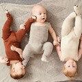 INS Romper Geral Newborn Boy Girl Knitting Romper Do Inverno Do Bebê Da Criança Camisola Infantil Macacão One piece-Pés Cobertos Traje
