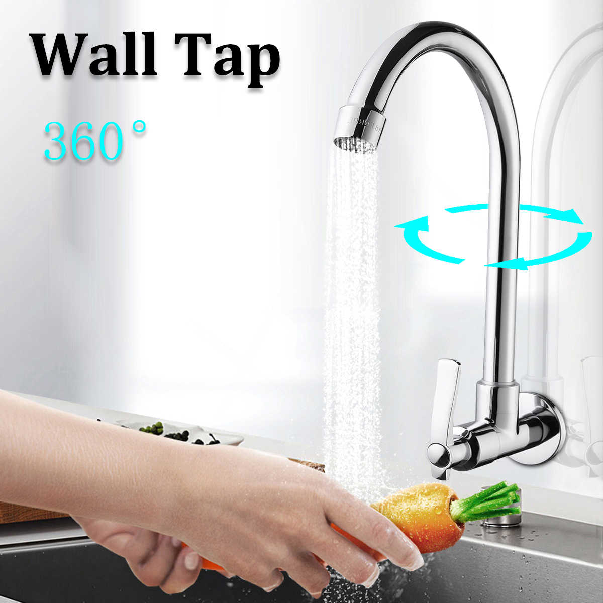 1Pcs Kitchen Basin Water Faucet Single Cold Brass Stainless steel 360 Degree rotation Bathroom Basin Faucets Wall Mounted