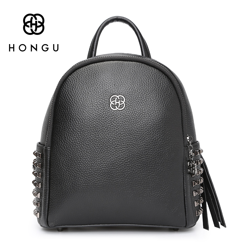HONGUFashion Women Backpack Ladies Shoulder Bag Leisure Upscale Genuine Leathe Bag With Rivet Protection For Girl College Casual 2017 fashion women waterproof oxford backpack famous designers brand shoulder bag leisure backpack for girl and college student