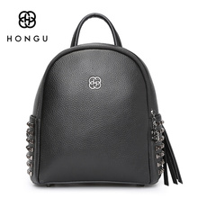 HONGUFashion Women Backpack Ladies Shoulder Bag Leisure Upscale Genuine Leathe Bag With Rivet Protection For Girl College Casual