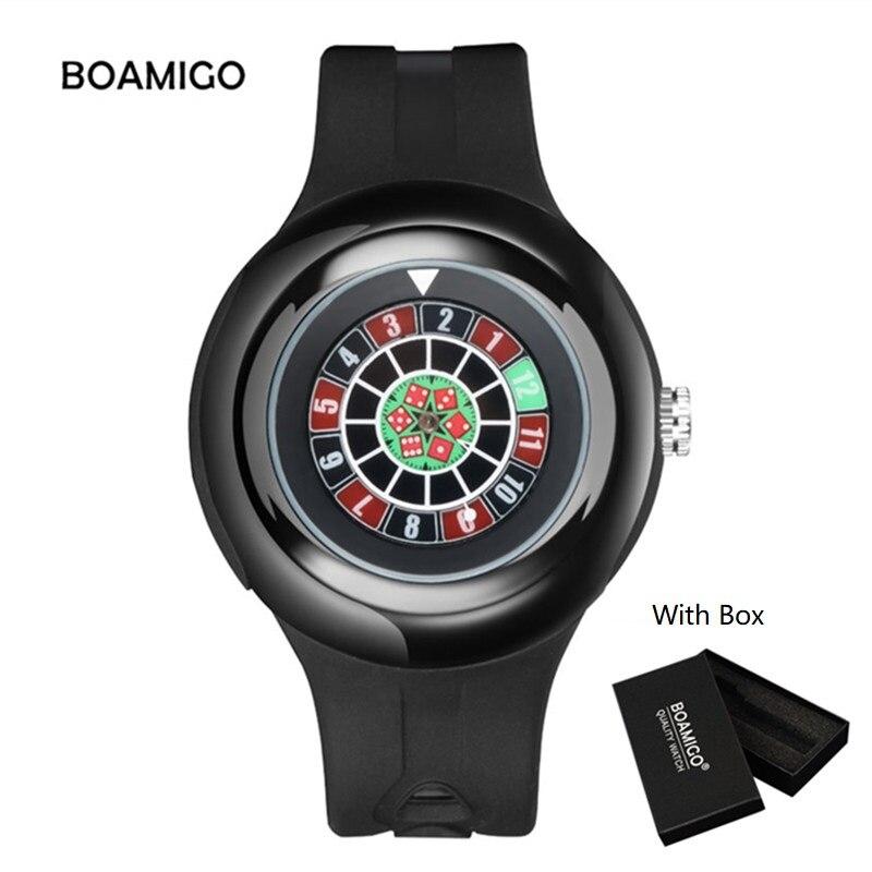 BOAMIGO Watch Creative Dice Quartz Watch Men Fashion Casual Rubber Wristwatches 2018 Gift Male Clock With Box relogio masculino