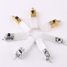 1PC Quartz Black Tourmaline Pendants Jewelry Amethysts Pendant Plaster With Citrines Natural Crystal Gold Plating