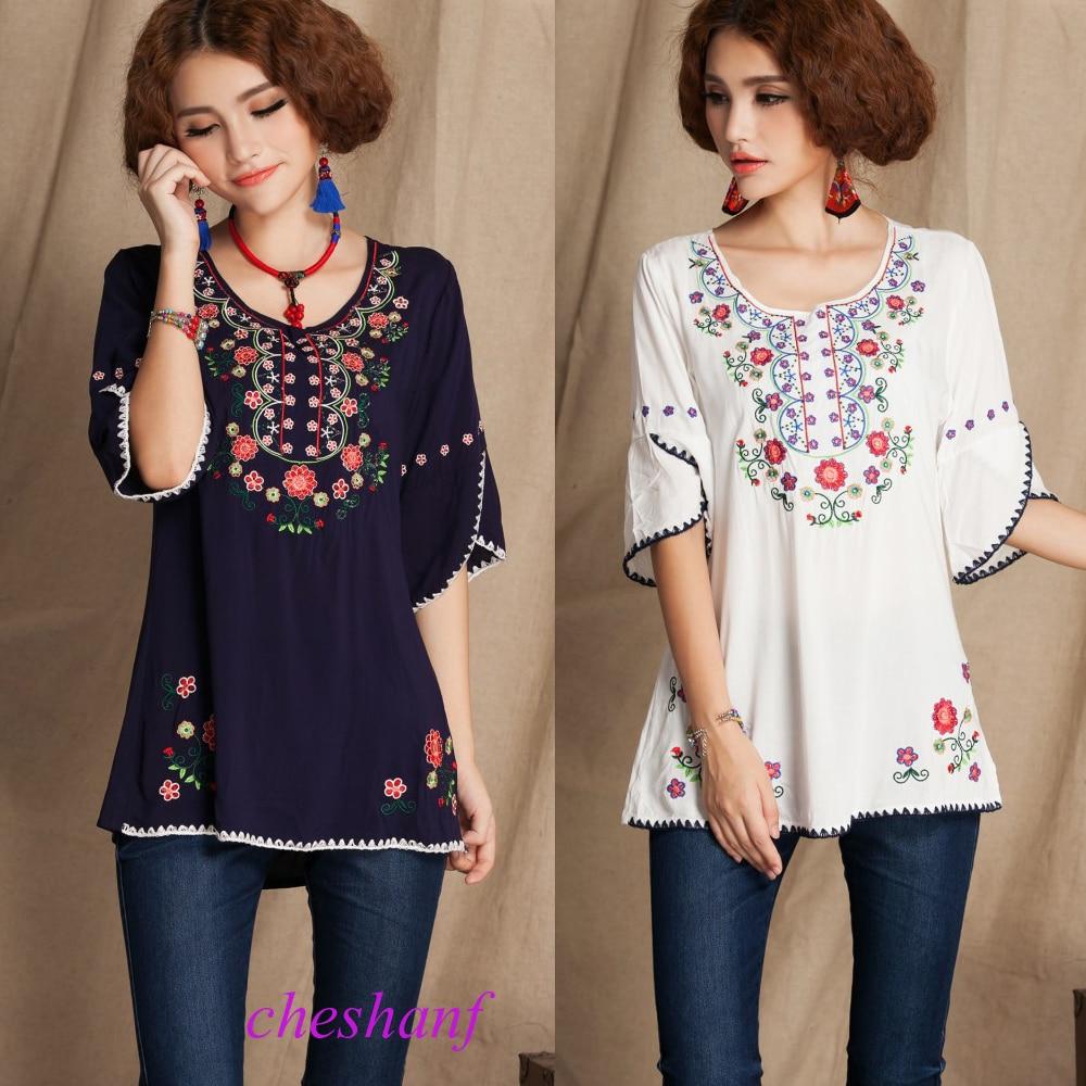 5fffc6414 € 10.63 |Vintage 70 s mexicano Floral bordado BOHO blusa mujer Hippie Mini  vestido mujer ropa de algodón suave blusa de verano Vestidos-in Vestidos ...