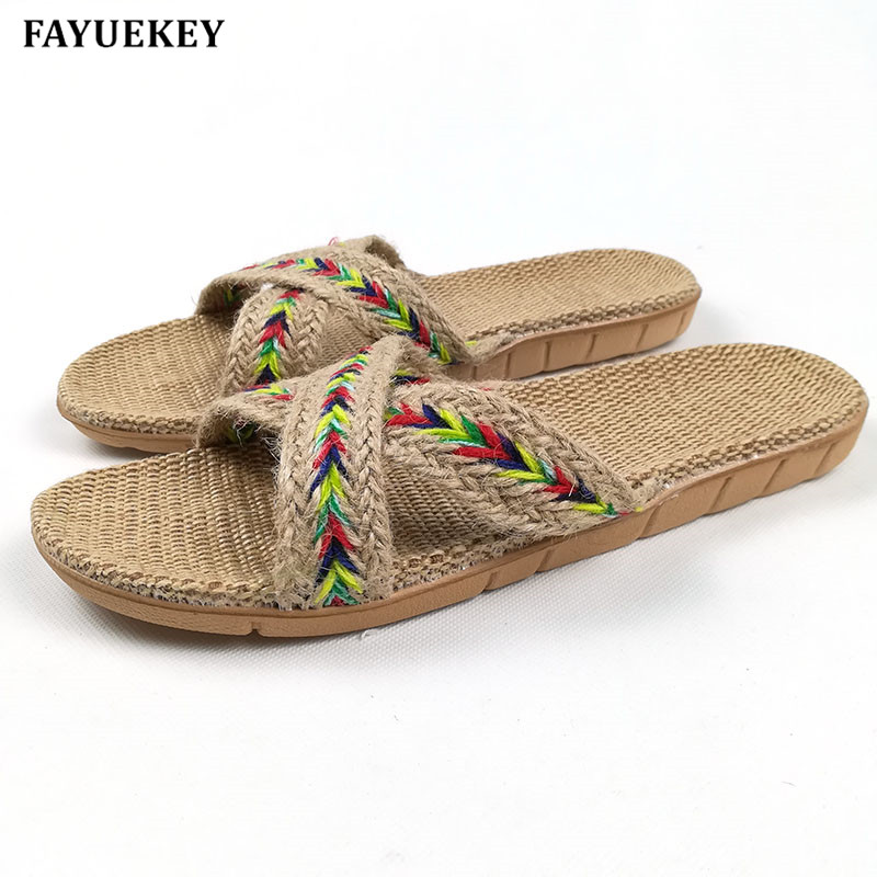 FAYUEKEY Summer Home Linen Non-slip Breathable Slippers Women Indoor\Floor Casual Beach Vintage Open-Toed Ladies Slippers Shoes 2017 special offer rushed esc value 2 hsp fpv tamiya fiber flight controller anti vibration set shock absorber apm kk mwc