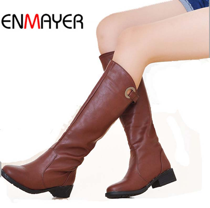 ENMAYER Women Warm Winter Shoes Vintage Low Square Heels Knee High Boots Round Toe Platform Snow Boots forWomen Motorcycle Boots sgesvier women winter fur shoes vintage low square heels buckle knee high boots round toe platform snow boots for women ox019